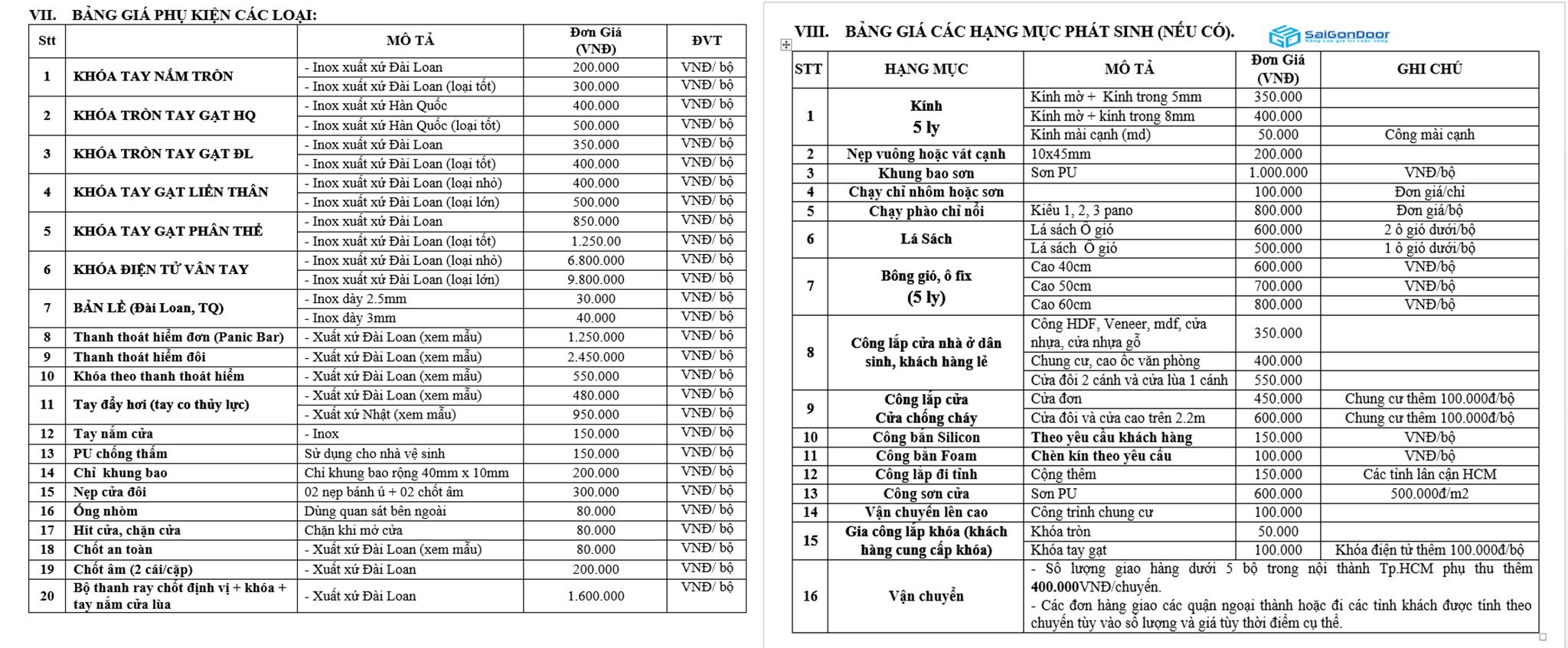 Bảng báo giá phụ kiện và các hạng mục phát sinh