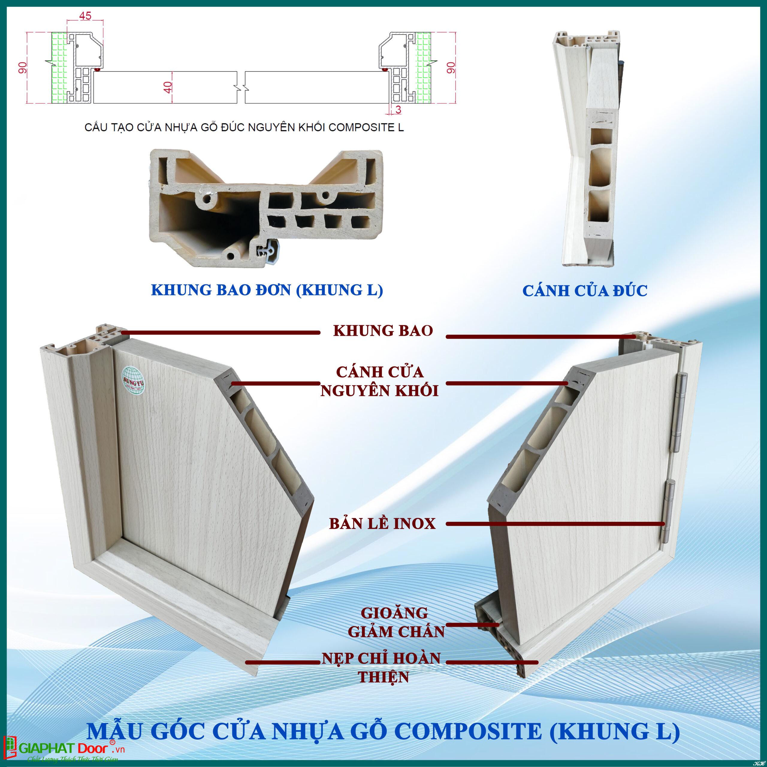 Phần cánh và khung cửa nhựa composite đều được đúc nguyên khối, có khoảng không cách âm ở lớp lõi mức trung bình