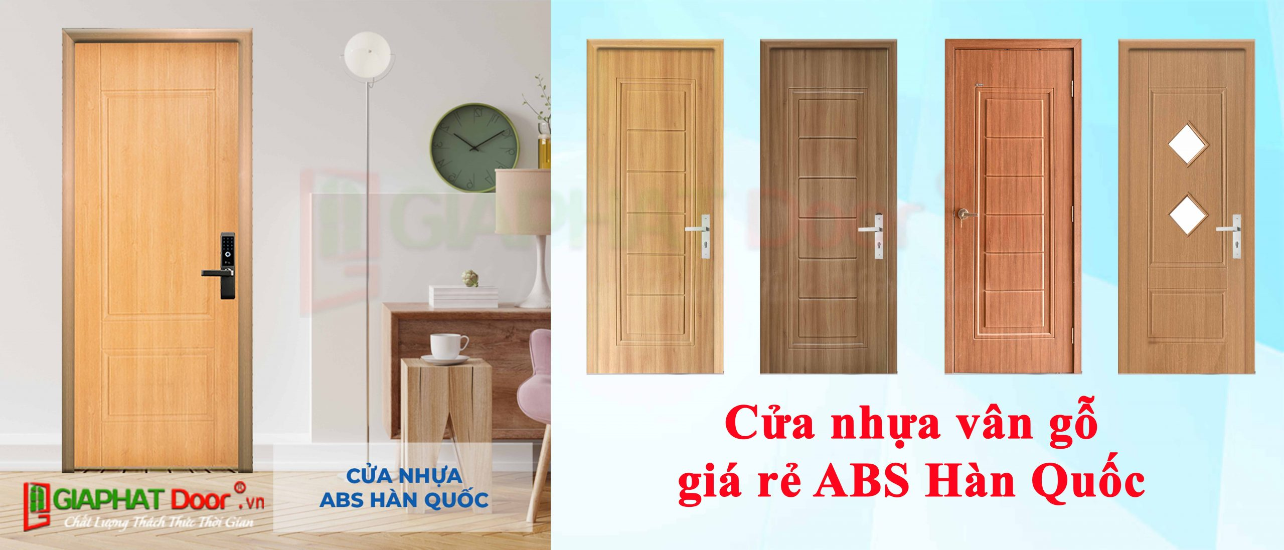 Cửa nhựa vân gỗ giá rẻ ABS Hàn Quốc dùng cho nhà vệ sinh