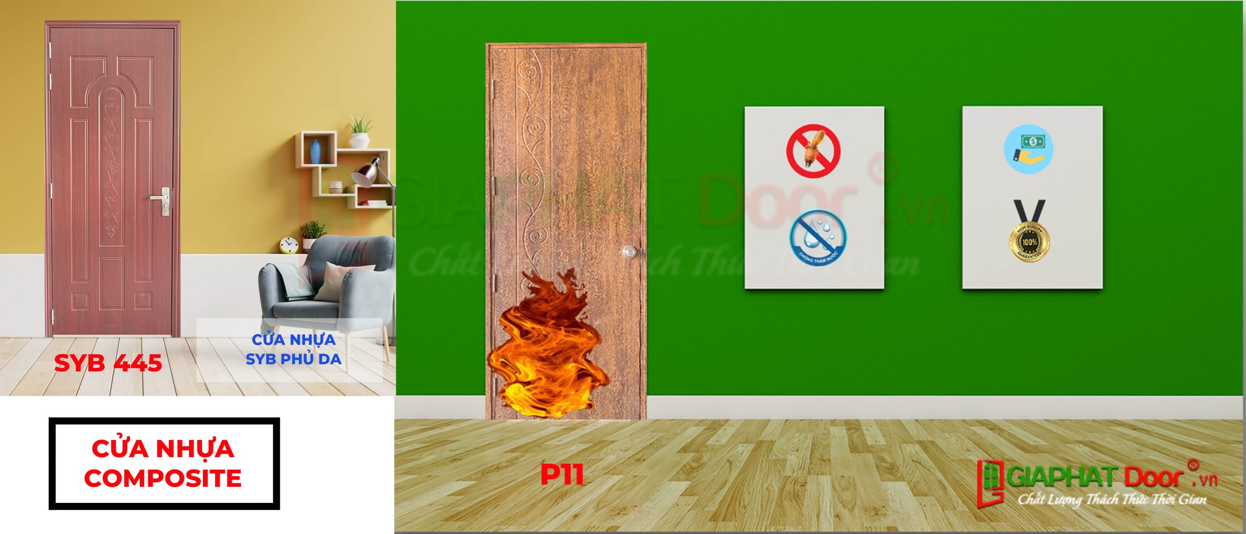 Cửa nhựa giá rẻ - Cửa nhựa gỗ Composite