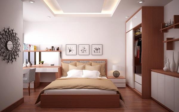 Không nên bố trí cửa phòng ngủ đối diện giường ngủ