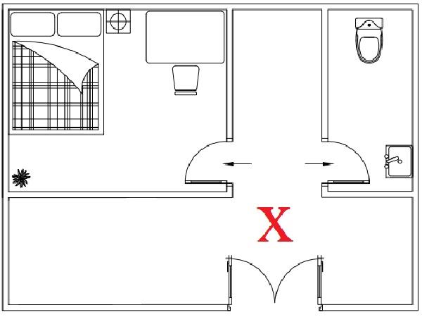 Không đặt cửa phòng vệ sinh đối diện cửa phòng ngủ