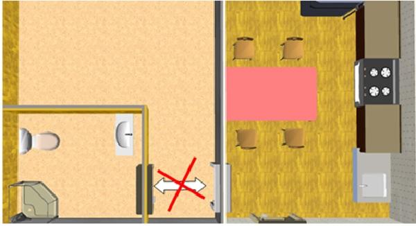 Không xây phòng bếp đối diện phòng vệ sinh